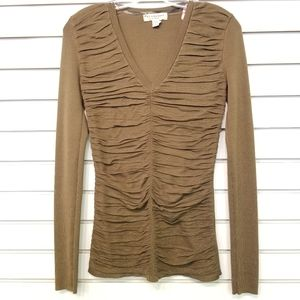 Burberry Ruched Long Sleeve Top
